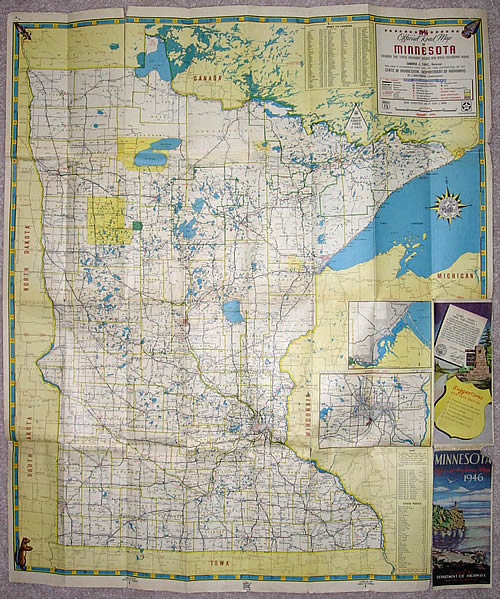 1946 Official Road Map of Minnesota